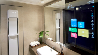 The LG ThinQ Home's bathroom featuring a smart mirror which allows users to enjoy their daily routine while searching the latest news or listening to music.