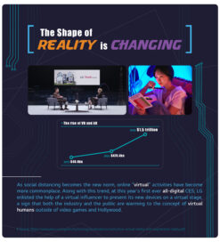 An overall look of the story related to 5 Tech Keywords of 2021 with photos of LG's future talk and Reah Keem, the virtual influencer of LG.
