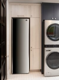 LG Styler and LG WashTower which keep clothes immaculate giving the showroom's utility room a touch of class.
