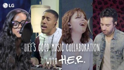 A picture promoting the LG Life's Good Music Collaboration with famous musician H.E.R., which shows the singer and the three contest winners recording a new song