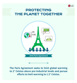 A brief explanation of the Paris Agreement with an outline image of the Eiffel Tower.