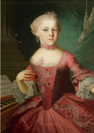 A portrait of Maria Anna Mozart, the older sister of the world's most famous classical musician Wolfgang Amadeus Mozart.