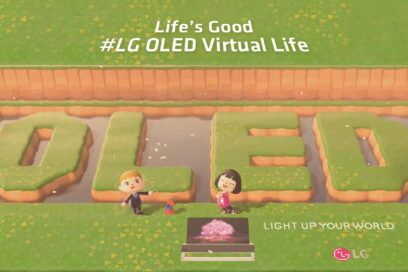 Two player avatars in popular Nintendo game 'Animal Crossing' pose with the LG OLED TV and 'OLED' lettering, which have been terraformed into the pond behind them.