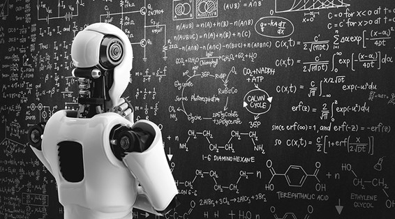 A robot staring at a giant blackboard as if trying to figure out complex mathematical equations to solve a problem.