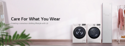 An image promoting LG's Care for What You Wear campaign featuring LG's Styler, Dryer and Washer.