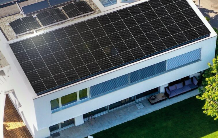 LG NeON H solar panel installed on the top of a residential building
