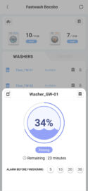 Laundry Lounge app shows process of washing and remaining time and let user set alarm to ring 5, 10, 20 and 30 minutes before finish.