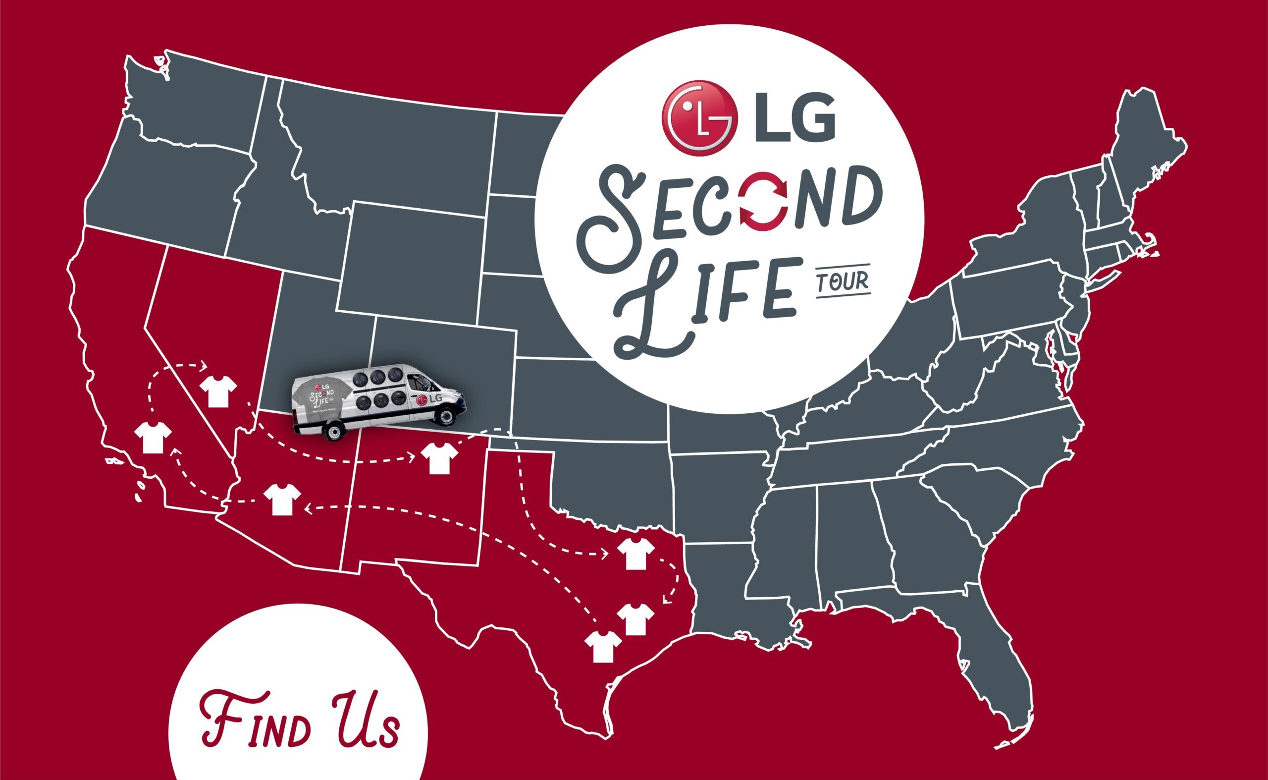 A map of the US showing where The Second Life Campaign tour will be taking place