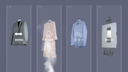 An image showing LG Styler's moving, steam, dry and press features that help keep clothes clean and wrinkle free.