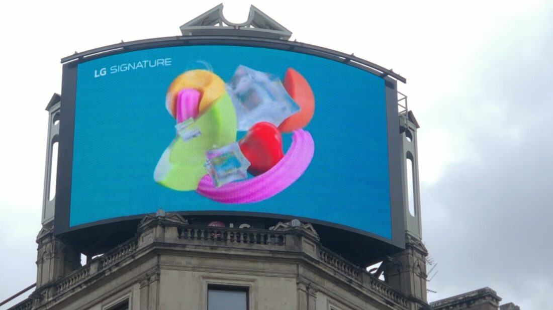 A close-up photo of LG's digital billboard in Piccadilly Circus, London with an animation representing LG SIGNATURE Refrigerator