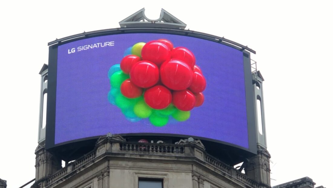 A close-up photo of LG's digital billboard in Piccadilly Circus, London with an animation representing LG SIGNATURE Wine Celler