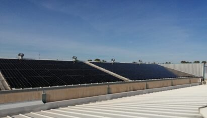 A photo of the LG solar panels installed at Europe's first-ever carbon-neutral tech lab