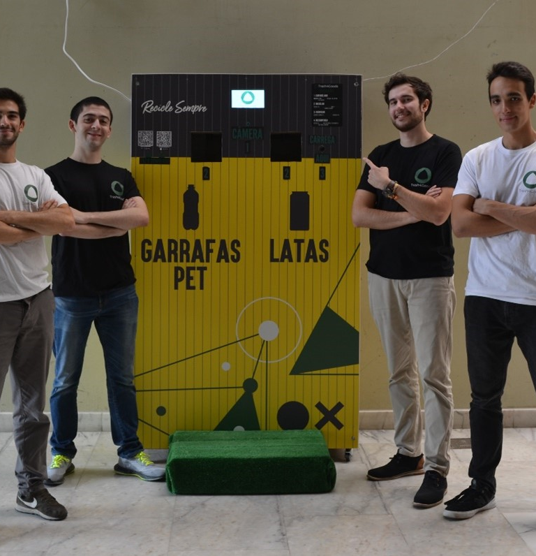 Four members of the Trash4Goods team that took first place in the e-Waste Open Innovation Challenge