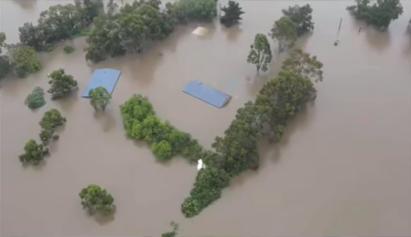 An overlooking shot of some of the flooding devastating Australian communities
