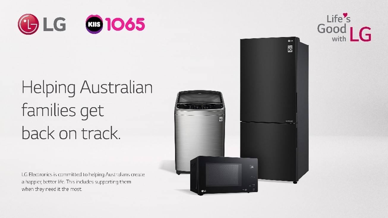 An image with three LG home appliances - a washer, refrigerator and microwave - which will be given to Australian families affected by the catastrophic floods to help get them back on track.