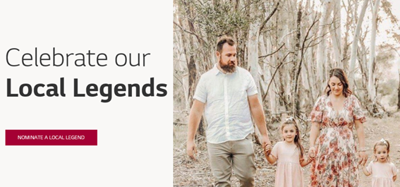 A screenshot of the online gateway to Local Legends website with a photo of a family walking hand-in-hand through an Australian forest that has been ravaged by one of last year's bush fires.