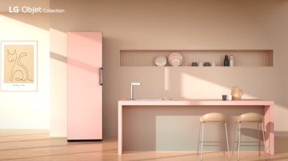 LG Objet Collection convertible fridge and freezer become point item with pink color in simple kitchen.