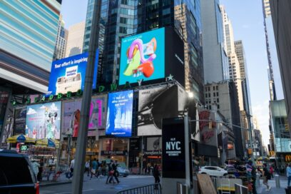 LG's digital billboard in Time Square, New York displaying an animation representing the function of LG SIGNATURE Refrigerator