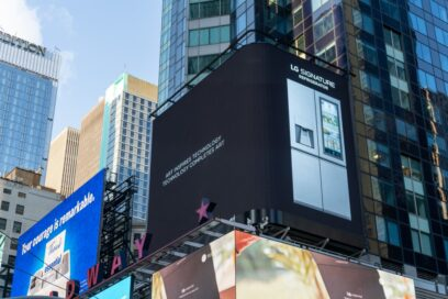 LG's digital billboard in Time Square, New York with an image of LG SIGNATURE Refrigerator against a black background