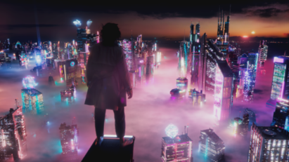 Someone stands on the edge of a tall skyscraper while looking down at a futuristic city full of high-rise buildings and neon lighting