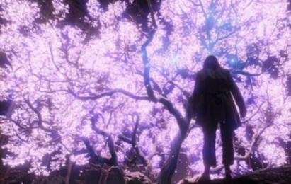 Someone standing below a huge tree that has purple-glowing leaves