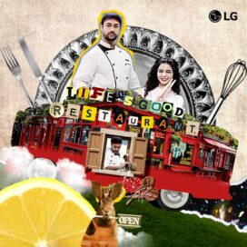An illustration of the Life's Good Restaurant on wheels with a male and female chef behind