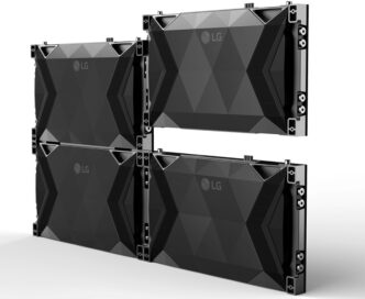 A rear view of four LG MAGNIT panels showing off their distinctive back covers that let them slide together for a much larger display