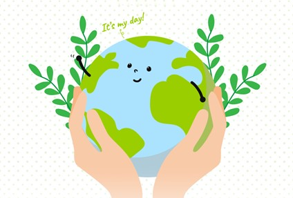 An illustration of the Earth being held in two hands as it states, 'It's my day!'