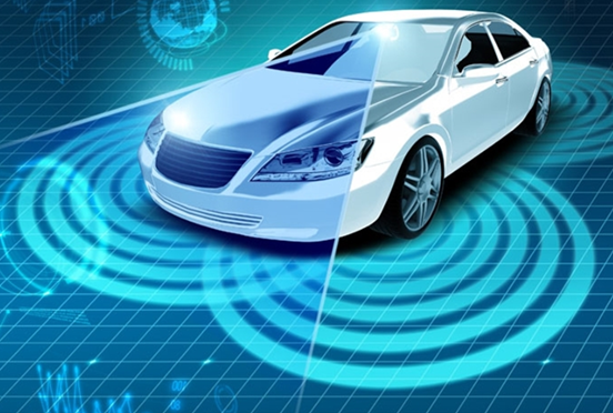 A graphic of a vehicle equipped with advanced technologies