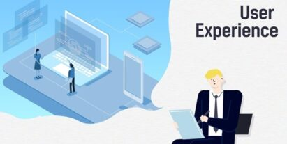 An illustration of a man being influenced by electronic devices to represent AI user experience.