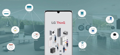 A smartphone displaying the LG ThinQ app with ten different icons representing various LG home appliances connected in the background