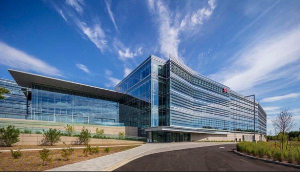 The LEED Platinum Certified LG North American headquarters campus in Englewood Cliffs, New Jersey