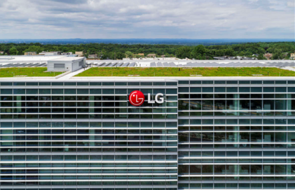 The LG North American headquarters campus with LG's logo on the side of the building