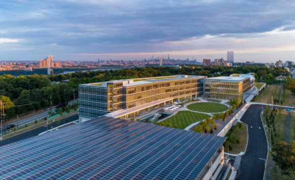 A far overlooking view of the LEED Platinum Certified LG North American headquarters campus
