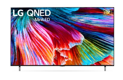 8K QNED Mini LED TV accurately displaying a colorful abstract artwork on its screen
