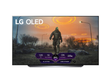 LG OLED TV displaying Game Dashboard along the bottom of the screen during gameplay