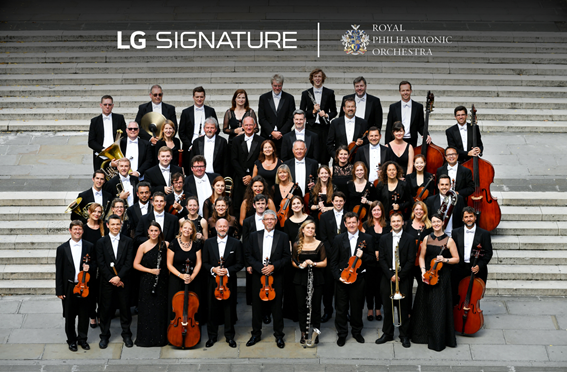 The Royal Philharmonic Orchestra with the logos of LG SIGNATURE and the orchestra above