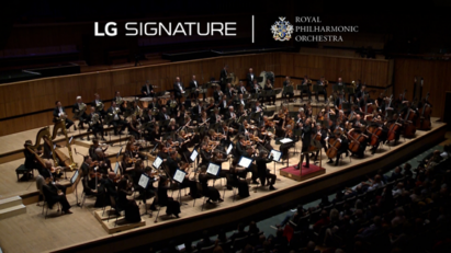 The Royal Philharmonic Orchestra playing in a concert hall with the logos of LG SIGNATURE and the orchestra above