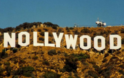The Hollywood sign with the 'H' replaced with 'N' to spell out Nollywood