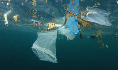 An image of plastic waste floating in the ocean.