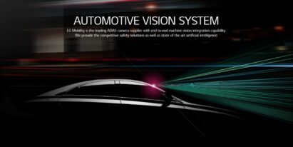 A promotional image of LG's ADAS camera with an image of a black car sending out signals from its front windshield