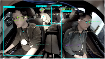 Three passengers and a driver inside a vehicle depicting the IMS and DMS features of LG's high-performance camera.