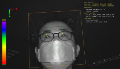 A photo demonstrating LG camera's face mask detection technology