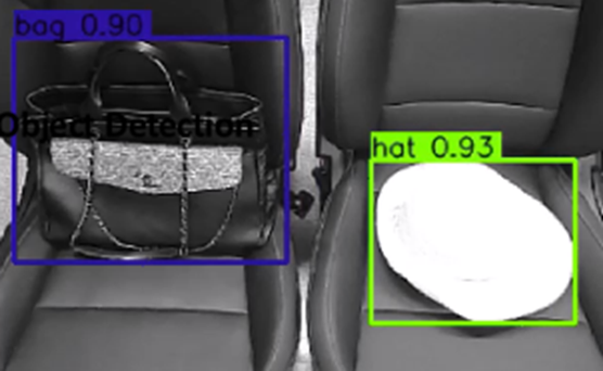 LG's in-vehicle cabin cameras detecting a bag and hat on the passenger seats