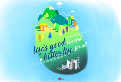 """An illustration displaying contrasting eco-friendly and eco-harmful societies with the phrase, """"Life's good toward a better life for all"""""""