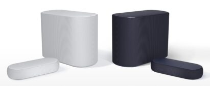 Front view of LG Éclair and its subwoofer in its white and black options