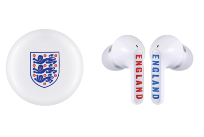 The charging case and earbuds of the limited-edition TONE Free model in partnership with the English National Football Team and the Football Association
