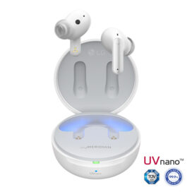 LG's Pearl White TONE Free earbuds float above the charging case emitting UV-C LED light beside the UVnano logo