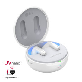LG's Pearl White TONE Free earbuds being charged and cleaned in the case beside the UVnano and Plug & Wireless logos