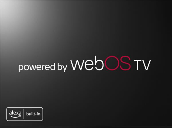 A black TV screen displaying the 'powered by weboOS TV' tag in the center and the Alexa Built-in logo in the bottom left corner